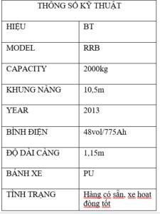 thông số kĩ thuật xe nâng BT RRB